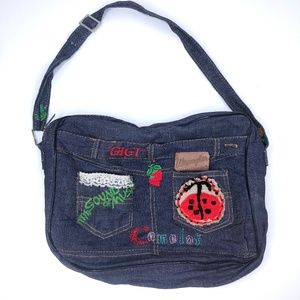 70s One of a Kind Musicals Embroidered Denim Bag